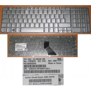 CLAVIER AZERTY NEUF HP DV7 series - 9J.N0L82.10F - NSK-H810F - 483275-051 - Gris argent